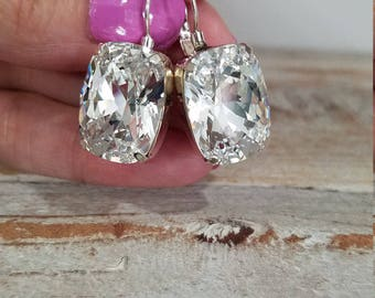 ON SALE ! Genuine Swarovski Fancy Crystal Dangle Earings 18 x 13mm