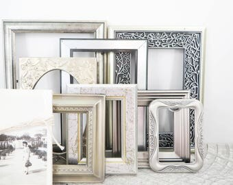 Silver Picture Frames - Set of 8 - Elegant Vintage Wedding - Mixed Metal Frames