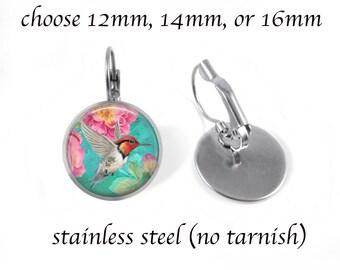 Hummingbird 10 Earrings -Jewelry - Post or Dangle - Stainless Steel 12mm, 14mm, 16mm - Bronze Copper 12mm Dangle - Hummingbird Jewelry
