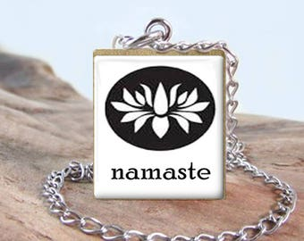 Scrabble Stainless Jewelry - Namaste - Lotus - Yoga - Choose Letter, Pendant or Necklace - Quality Stainless Chain & Findings - Gift Idea