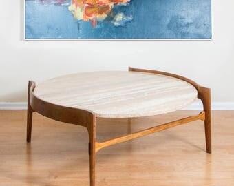 Vintage Bertha Schaefer Travertine & Walnut Coffee Table