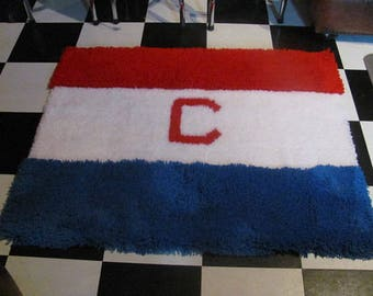 The Chicago Cubs Baseball Style Hand Hooked Rug