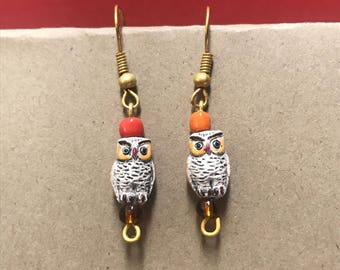 Owl dangle earrings