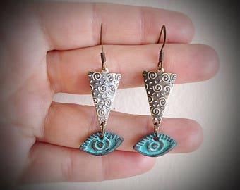 Sacred Golden Triangle Evil Eye Earrings