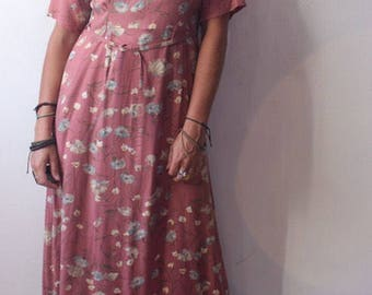 90s pink floral rayon ankle maxi