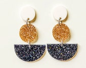 EARRINGS | Black & Gold Sailor Moon (Three Tiered) : Big And Fancy Hello Miss May Drop Earrings