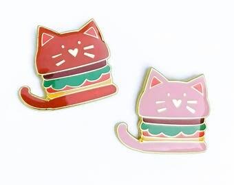 JUNK FOOD | Cute Cat Burger Enamel Lapel Pin