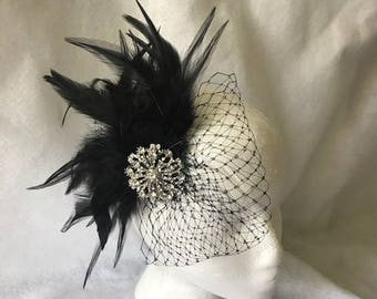 Black Feather Fascinator Hair Clip, Black Wedding Fascinator, Black Feather Hair Piece, Black Feather Headpiece, Black Feather Comb