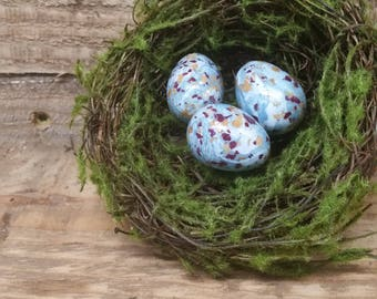 "Custom Keepsake / Memorial Nest made from your Flower Petals or Pet fur or Cremains - Choose Color - 4"" MOSS NEST w/EGGS"