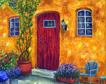 Oil painting, rustic cottage, Under the Arbor, Original art, oil on canvas, one of a kind