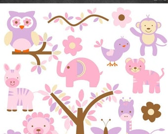 50% OFF Safari Animal Clipart - Pink and Purple - Instant Download