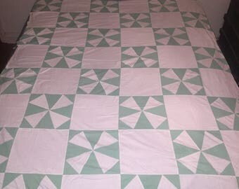 Minty Fresh Quilt Top Big vintage fabric handmade calico cotton sewing project