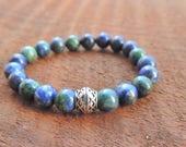 Lapis Lazuli Chrysocolla Bracelet, Chakra Bracelet, Healing Meditation Bracelet, Yoga Bracelet, Wrist Mala, Throat Chakra Bracelet