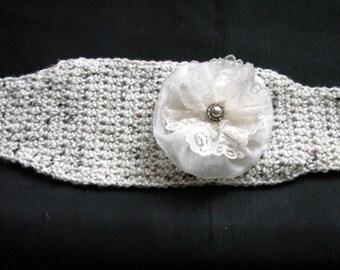 Winter Hat Headband Bling Earmuff Warmer Crochet Lace Flower tan beige hat