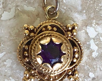 "Gorgeous 14k Antique 15mm Amethyst Pendant on a 14k 18"" Chain Weight is 2.6 grams"