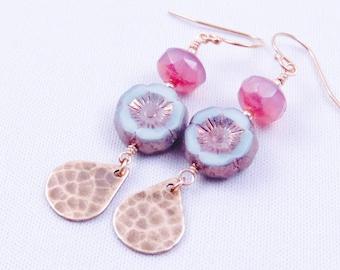 Pink Rose Hawaiian Flower Earrings, Mint Metallic Flower Earrings Bohemian style Brass Earrings
