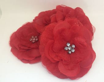 4 pieces red silk peony flowers, craft flowers with crystals