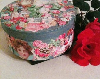 ON SALE Ready to Ship. Victorian Inspired Decoupage Box. For Her. English Country Home. Library. Office. Mini Storage.