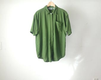 vintage BRIGHT GREEN short sleeve thick button down SLOUCHY oversize top shirt