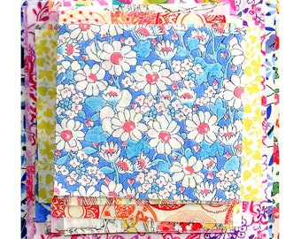 "Liberty Fabric 4"" x 4"" + 3"" x 3"" Scrap Pack Bundle low volume pastel light pale Patchwork Quilting Floral Liberty of London Cotton Tana Lawn"