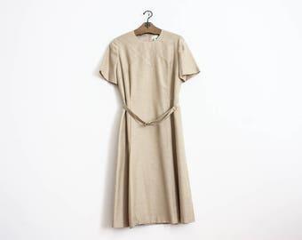Vintage 70s Linen Dress Summer Skirt Blouse Beige Cream Boho Dress Outerwear