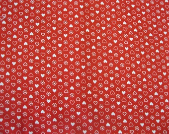 "Cotton 2 Yards 44"" wide red and white Heart"