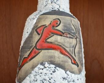 San Marino ceramic vase, Italy, deer, hunter, bow