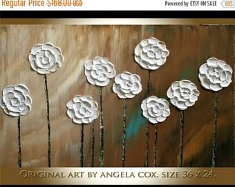 SALE Original Modern  White  Flowers  Heavy  Impasto Texture Palette Knife Acrylic   Painting . Size 36 x 24.