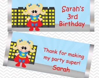 Supergirl - Superhero - Personalized Candy Bar Wrapper, Birthday, Baby Shower