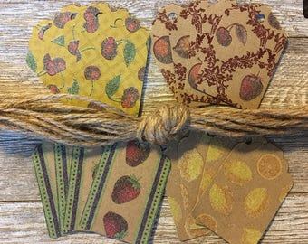 Glitter Fruit Craft Cardstock Gift Tags with Jute Cord Assorted Prints: Set of 16
