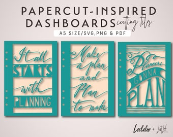A5 PAPERCUT-Inspired DASHBOARD SET – Die Cutting Files (3 Designs) - svg, png, pdf