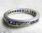 Reserved for CJ, 4th of 4 payments Platinum Blue Sapphire Wedding Ring Stacking Ring Genuine Blue Sapphire September Birthday Ring