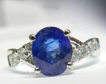 Sapphire Ring 3 Ct Genuine Ceylon Sapphire 18K Vintage Engagement Ring White Gold Sapphire Diamond Ring 3 Carat Blue Sapphire  Gift for Her