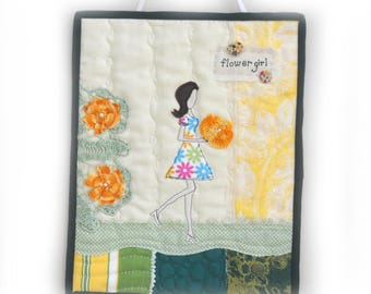 Mini Quilt, Fabric Art Quilt, Wall Decor, Quilt Wall Hanging, Flower Girl, flowers, girl, lady, floral bouquet, Cottage Chic, OOAK, Handmade