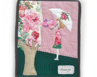 Mini art Quilt, Fabric Art Quilt, Wall Decor, Quilt Wall Hanging, Flower Girl, lady, Cottage Chic decor, OOAK, Handmade, gardener decor