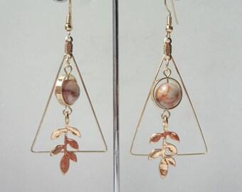 Triangle Leaves Earrings Earrings Dangle Chain Earrings Brown Bead Earrings  0480
