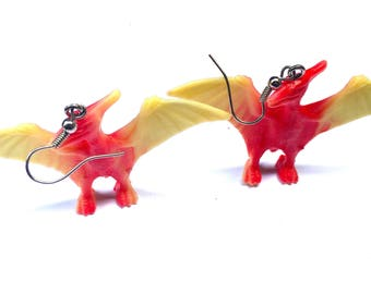 Pterodactyl Toy Earrings, Upcycled Toy Pterodactyl Earrings, Dinosaur Earrings, Jurassic Earrings
