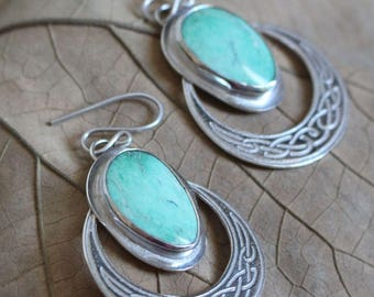 sterling silver moon turquoise earrings, ISILDUR, moon phase silver earrings, celtic silver jewelry