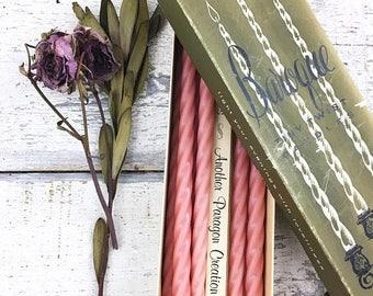 SUMMER SALE Vintage Pink Baroque Tiny Twist Candles