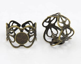 Ring Blanks Adjustable Rings Antiqued Bronze Blank Rings Filigree Rings with Pads Ring Settings BULK Rings Wholesale 100 pieces PREORDER