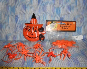 Halloween Party Supplies-Cake Topper-Cup Cake Picks -Favor Spider Rings #A