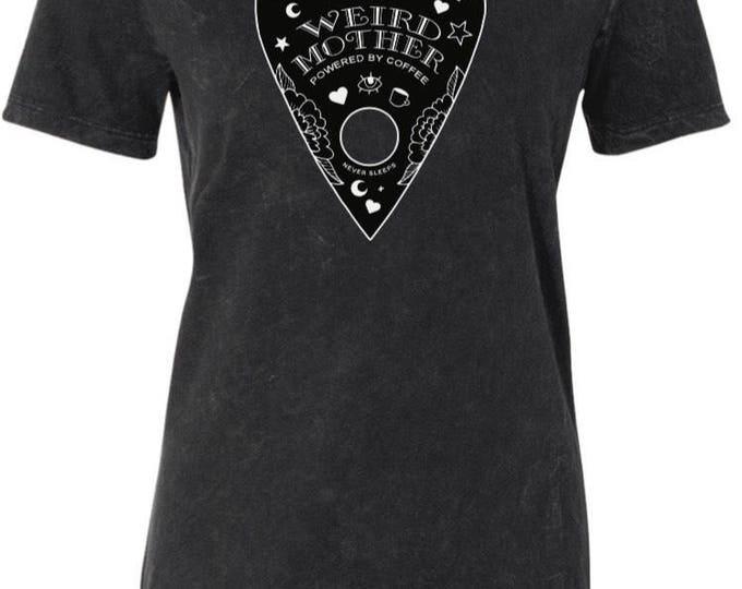 Presale Ouiji Planchette White on Black, women's cut Mineral Wash Shirt.