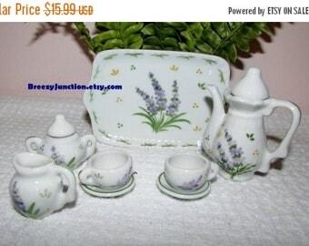 On Sale NOW Miniature Tea Service Set, Purple Lilacs, 10 piece Set, Miniature Tea Pot, Sugar Creamer, Cups & Saucers on Tray - BreezyJunctio