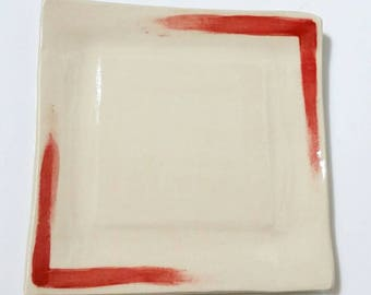 Red Accent Small Square Ceramic Plate, Red and White Dessert Plate, Wedding Gift, Cake Plate