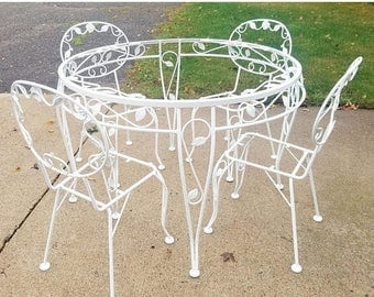 ON SALE Vintage Wrought Iron Out Door Patio Dining Set Woodard Chantilly  Rose Style