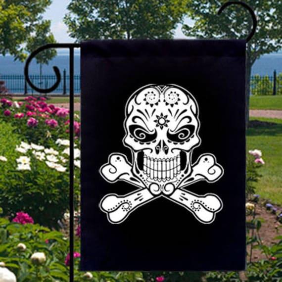 Sugar Skull Crossbones New Small Garden Flag Events Gifts