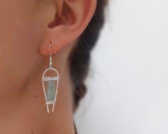 Aventurine Earrings, Green Earrings, Gemstone Earrings, Earrings, Silver Earrings, Wire Wrap Jewelry, Gifts for Her, Gifts for Women, Boho