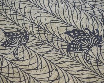 Butterfly Vintage Japanese tsumugi cotton kimono fabric