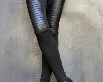 SALE NEW COLLECTION Black Extra Long Leggings / Genuine Leather Front  / Viscose Back by Aakasha A05125