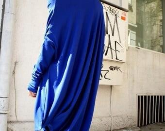 SALE Oversize Royal Blue Loose Casual Top / Asymmetric Raglan Long Sleeves Tunic  / Maxi Extravagant Dress A02044
